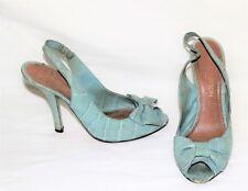 7451496e589 Louis Vuitton Light Blue Croc Peep Toe Slingback Pumps sz 8.5 39