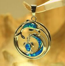 22mm Hawaiian Rhodium 925 Silver Inlaid Opal Ocean Wave Dolphin Turtle Pendant