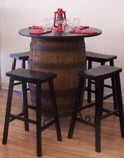 "White Oak Whiskey Barrel Table-C/Stand 36"" Tabletop (4) 29"" Black Bar Stools"