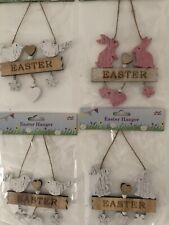 Easter Shabby Chic Hanger Wooden Decoration - Pink Or White - Birds Or Rabbits