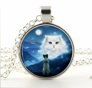 Silver Cat Necklace Pendant - Fantasy White Cat Blue Sky Moon Kitty Jewelry Gift