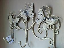 Rustique vieilli fer Papillon crochets pour manteaux clés triple crochet crème