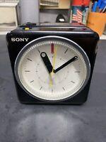 VINTAGE SONY ICF-A10W AM FM Alarm Clock BLACK Works Great Minor Blemish