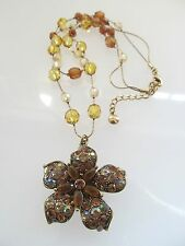 Vintage Style Rhinestone Flower and Crystal Necklace
