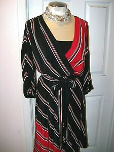 WHITE HOUSE BLACK MARKET sz 6 STRIPED WRAP DRESS VERSATILE -NWT-GORGEOUS! $148