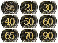 "18"" Black & Gold Sparkling Fizz Holographic Helium Foil Balloon - Milestone Ages"