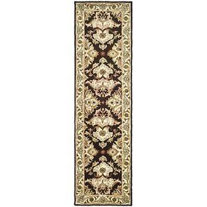 Safavieh Heritage Espresso / Ivory Wool Runner 2' 3 x 12'