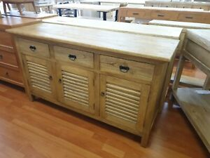 French provincial Hamptons timber sideboard  rustic  with Louvre doors
