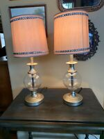 "2 Beige Silver Bling Clear Glass Vanity Boudoir Bedroom Table Lamps 20"" Tall"