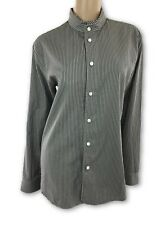 Marc Jacobs New Size 46/12 Gray White Pinstripes Cotton Ruffled Stand Up Collar