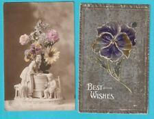 Postkarten - Blumen Stiefmütterchen 5 Stück