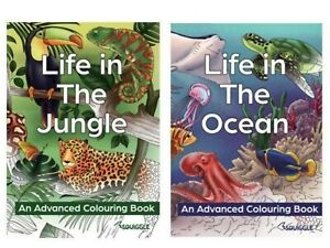 Relaxing Advance Colouring Activity Books,Life In The Jungle & Life in the Ocean