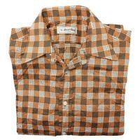Ascot Chang Men's Large Orange Brown Custom Made Button Up Long Sleeve Shirt