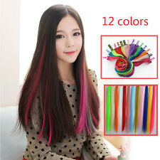 Women 12 Color Long Straight Synthetic Clip in on Hair Extensions Piece Sales