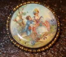 Peinture miniature broche scène galante XIX signé F L