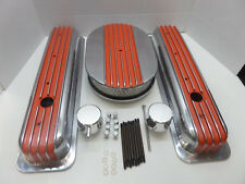 S B CHEVY SHORT CENTER BOLT ORANGE  FIN VAL COVER / HALF FIN AIR CLEANER COMBO