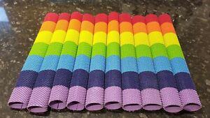 Premium Cricket Bat Grip Octopus Design in Rainbow multi colours (4 pack)