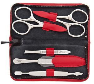 Inox & Leather Red - robert klaas Solingen - Manicure Set Manicure Case Men's