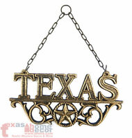 TEXAS Cast Iron Metal Plaque Star Scrolls Western Wall Hanging Decor Gold Finish