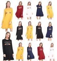 New Women Printed Guilty Liberte Royalty Long Sleeve Skater Flared Swing Dress