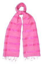 Raspberry Pink Silk and Linen Stripe Scarf - Fair Trade BNWT 180cm x 80cm