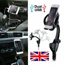 360° Universal Car Cigarette Lighter Phone Holder Cradle Mount Dual USB Charger