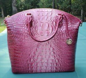 NWT 299.00BRAHMIN Magenta Pink Large Duxbury Melbourne Satchel Croc Embossed