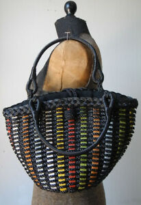 Mint Japanese Vintage black plastic and multicolor lined tote bag-great!
