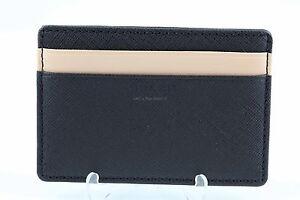 Coach Saffiano Leather Slim Card Case ID #F74772 Black/Tan