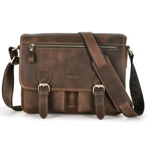 Men Genuine Leather Messenger Bag Shoulder Bag Laptop Satchel Cross Body Bag