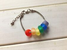 Handmade Rainbow Sea Glass Bracelet, Adjustable Knitted Alloy Chain Jewelry