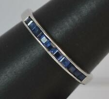 Quality 18ct White Gold & Sapphire Half Eternity Stack Ring d0938