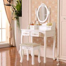 Vanity White Makeup Dressing Table Desk With Mirror 4 Drawers Stool Set Bedroom