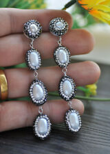 P7508 3Line 18mm White Rice Pearl CZ Dangle Earrings
