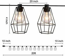 Brightown Cafe Lights Indoor String Lights 20Feet With 12 Clear G40 Bulbs Black