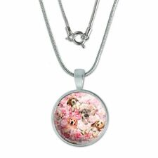 """Puppies Dogs Pink Flowers Pattern 0.75"""" Pendant w/ Silver Plated Chain"""