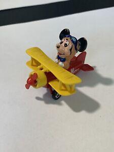 RARE Vintage Walt Disney Mickey Mouse TOMY Airplane Biplane #PD1 Free Shipping