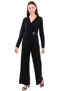 FLY GIRL Jumpsuit Size L Rhinestoned Detail V Neck Wide Leg Made in Italy