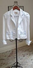 Juicy Couture Women's Jacket Size S 100% Cotton White With Blue Trim