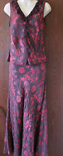 Stunning Monsoon brown and red top and skirt size 12
