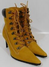 NINE WEST Womens Work Boots Lace Up High Heels Wheat Leather Nubuck Size 11