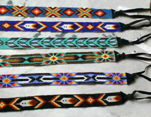 """Western Vintage Style Hand Beaded Tie Hatband Rodeo 6 Designs Cowboy 1"""""""