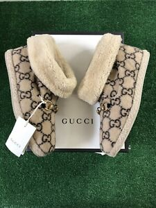 Gucci Covered Wool Unisex Logo Boots Beige/ebony BRAND NEW Size 9.5