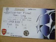 Ticket- UEFA CHAMPIONS LEAGUE QUARTER FINAL ~ HOME LEG, ARSENAL