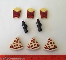 Pizza Fries and Coke Novelty Embellishments Dress It Up Jesse James Buttons 3597