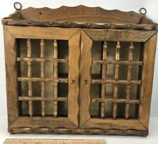 VINTAGE SHADOW WOOD WALL HANGING CURIO CABINET DISPLAY  2 DOOR 18x16
