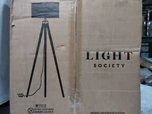 Light Society Celeste Tripod Floor Lamp w. Satin Nickel Finish and White Fabric