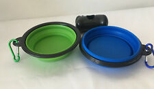 Two Portable Collapsible Dog/Cat Water Holders And Plastic Container With Bags