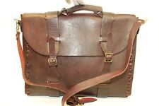 Vintage Handcrafted Mahogany Thick Belting Leather Messenger Shoulder Bag xh