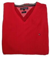 Tommy Hilfiger T-Shirt Men's Red Tee Size XL Long Sleeves V Neck Cotton Silk